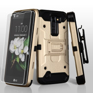 3-IN-1 Kinetic Hybrid Case with Holster and Screen Protector for LG K7 / Escape 3 / Treasure LTE / Tribute 5 - Gold