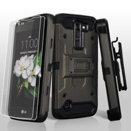 3-IN-1 Kinetic Hybrid Case with Holster and Screen Protector for LG K7 / Escape 3 / Treasure LTE / Tribute 5 - Grey