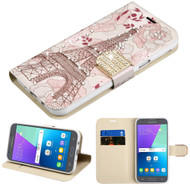 Luxury Leather Wallet Case for Samsung Galaxy J3 (2017) / J3 Emerge / J3 Prime / Amp Prime 2 / Sol 2 - Eiffel Tower