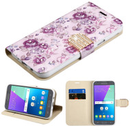 Luxury Leather Wallet Case for Samsung Galaxy J3 (2017) / J3 Emerge / J3 Prime / Amp Prime 2 / Sol 2 - Purple Flower