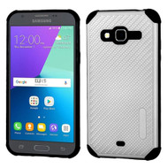 Rugged Weave Multi-Layer Hybrid Case for Samsung Galaxy Amp Prime / Express Prime / J3 / Sol - Silver