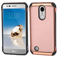 Electroplated Tough Anti-Shock Hybrid Case with Leather Back for LG Aristo / Fortune / K8 2017 / Phoenix 3 - Rose Gold