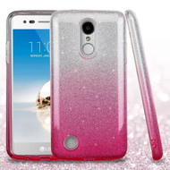 *SALE* Full Glitter Hybrid Protective Case for LG Aristo / Fortune / K8 2017 / Phoenix 3 - Gradient Hot Pink