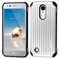 Suitcase Design Hybrid Protector Cover for LG Aristo / Fortune / K8 2017 / Phoenix 3 - Silver