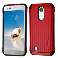 Suitcase Design Hybrid Protector Cover for LG Aristo / Fortune / K8 2017 / Phoenix 3 - Red