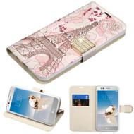 Luxury Bling Portfolio Leather Wallet Case for LG Aristo / Fortune / K8 2017 / Phoenix 3 - Eiffel Tower