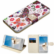 Luxury Bling Portfolio Leather Wallet Case for LG Aristo / Fortune / K8 2017 / Phoenix 3 - Butterfly Wonderland