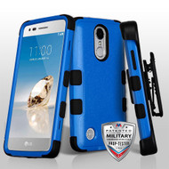 Military Grade Certified TUFF Hybrid Armor Case with Holster for LG Aristo / Fortune / K8 2017 / Phoenix 3 - Blue