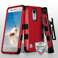 Military Grade Certified TUFF Hybrid Armor Case with Holster for LG Aristo / Fortune / K8 2017 / Phoenix 3 - Red