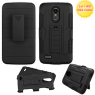 Robust Armor Stand Protector Cover with Holster for LG Stylo 3 / Stylo 3 Plus - Black