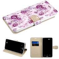 Luxury Bling Portfolio Leather Wallet Case for LG Stylo 3 / Stylo 3 Plus - Fresh Purple Flowers