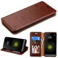 Book-Style Leather Folio Case for LG G6 - Brown