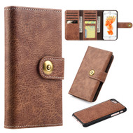 Grand Lux Magnetic Leather Tri-Fold Wallet Case for iPhone 8 / 7 - Brown