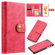 *SALE* Grand Lux Magnetic Leather Tri-Fold Wallet Case for iPhone 8 / 7 - Hot Pink