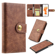 Grand Lux Magnetic Leather Tri-Fold Wallet Case for iPhone 8 Plus / 7 Plus - Brown