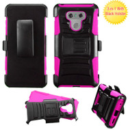 *Sale* Advanced Armor Hybrid Kickstand Case with Holster for LG G6 - Black Hot Pink