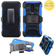 Advanced Armor Hybrid Kickstand Case with Holster for LG Stylo 3 / Stylo 3 Plus - Black Blue