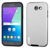 Silk Lines Hybrid Case for Samsung Galaxy J3 (2017) / J3 Emerge / J3 Prime / Amp Prime 2 / Sol 2 - Silver