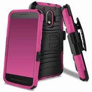 Advanced Armor Hybrid Kickstand Case with Holster for Motorola Moto E3 / G4 Play / G Play - Black Hot Pink