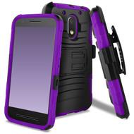 Advanced Armor Hybrid Kickstand Case with Holster for Motorola Moto E3 / G4 Play / G Play - Black Purple