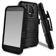 Advanced Armor Hybrid Kickstand Case with Holster for Motorola Moto E3 / G4 Play / G Play - Black