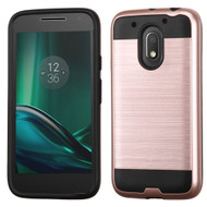 Brushed Hybrid Armor Case for Motorola Moto E3 / G4 Play / G Play - Rose Gold