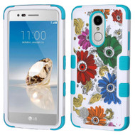 Military Grade TUFF Hybrid Armor Case for LG Aristo / Fortune / K8 2017 / Phoenix 3 - Colorful Chrysanthemums