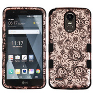 Military Grade Certified TUFF Image Hybrid Armor Case for LG Stylo 3 / Stylo 3 Plus - Leaf Clover Rose Gold