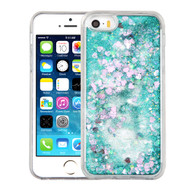 Quicksand Glitter Transparent Case for iPhone SE / 5S / 5 - Teal Green