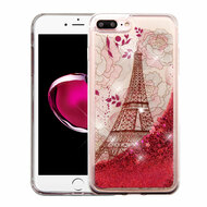 Quicksand Glitter Transparent Case for iPhone 8 Plus / 7 Plus - Eiffel Tower