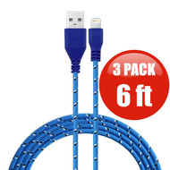 *SALE* 6 ft. Eco-Friendly Braided Nylon Fiber Lightning Connector to USB Charge and Sync Cable - 3 Pack Blue