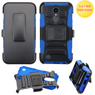 Advanced Armor Hybrid Kickstand Case with Holster for LG K20 Plus / K20 V / K10 (2017) / Harmony - Black Blue