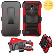 *Sale* Advanced Armor Hybrid Kickstand Case with Holster for LG K20 Plus / K20 V / K10 (2017) / Harmony - Black Red