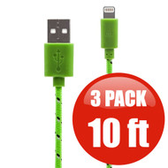 *SALE* 10 ft. Eco-Friendly Braided Nylon Fiber Lightning Connector to USB Charge and Sync Cable - 3 Pack Green