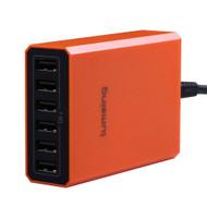 6 Ports 60W 5V USB Desktop Charger Charging Intelligent Control Chipset Multi Travel Power - Orange