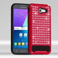 Luxury Bling Diamond Hybrid Case for Samsung Galaxy J3 Emerge - Red