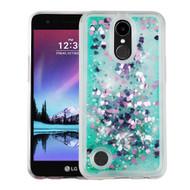 Quicksand Glitter Transparent Case for LG K20 Plus / K20 V / K10 (2017) / Harmony - Teal Green