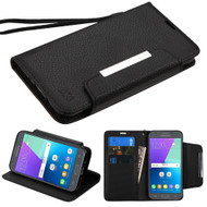 Designer Leather Wallet Shell Case for Samsung Galaxy J3 (2017) / J3 Emerge / J3 Prime / Amp Prime 2 / Sol 2 - Black
