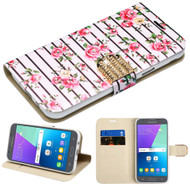 Luxury Bling Leather Wallet Case for Samsung Galaxy J3 (2017) / J3 Emerge / J3 Prime / Amp Prime 2 / Sol 2 - Fresh Roses