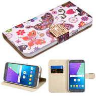 Luxury Bling Leather Wallet Case for Samsung Galaxy J3 (2017) / J3 Emerge / J3 Prime / Amp Prime 2 / Sol 2 - Butterfly