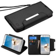 *SALE* Designer Leather Wallet Shell Case for LG Aristo / Fortune / K8 2017 / Phoenix 3 - Black