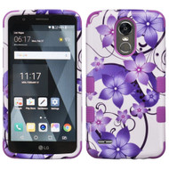 Military Grade Certified TUFF Image Hybrid Armor Case for LG Stylo 3 / Stylo 3 Plus - Purple Hibiscus Flower