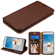 Book-Style Leather Folio Case for LG Aristo / Fortune / K8 2017 / Phoenix 3 - Brown
