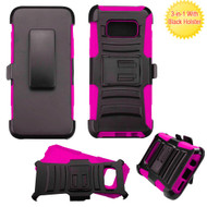 Advanced Armor Hybrid Kickstand Case with Holster for Samsung Galaxy S8 - Black Hot Pink