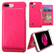 Pocket Wallet Case with Stand for iPhone 8 Plus / 7 Plus - Hot Pink
