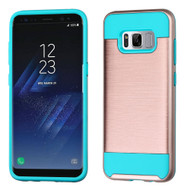 Brushed Hybrid Armor Case for Samsung Galaxy S8 - Rose Gold Teal