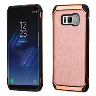 Electroplated Tough Hybrid Case with Leather Backing for Samsung Galaxy S8 - Rose Gold