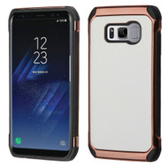 Electroplated Tough Hybrid Case with Leather Backing for Samsung Galaxy S8 - White