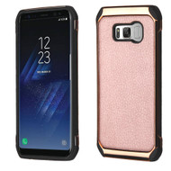 *Sale* Electroplated Tough Hybrid Case with Leather Backing for Samsung Galaxy S8 Plus - Rose Gold