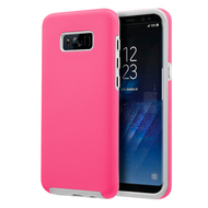 Haptic Football Textured Anti-Slip Hybrid Armor Case for Samsung Galaxy S8 - Hot Pink
